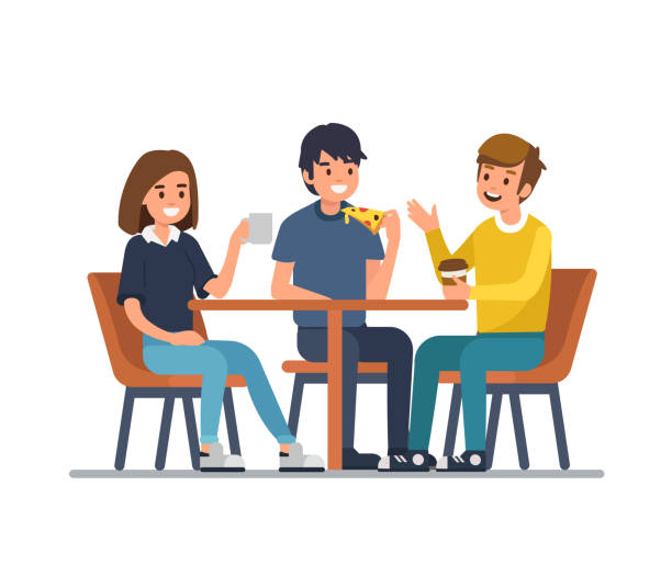 people in cafe Friends sit in cafe, drink coffee and eat pizza. Flat style vector illustration isolated on white background. cafe stock illustrations
