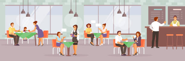 people in cafe vector - ресторан stock illustrations