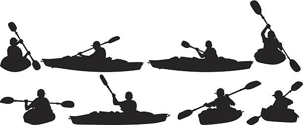 people in canoeing - kayaking stock illustrations, clip art, cartoons, & icons