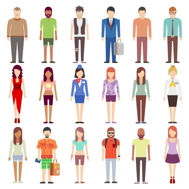 people in casual clothes flat icons set - preppy fashion stock illustrations, clip art, cartoons, & icons