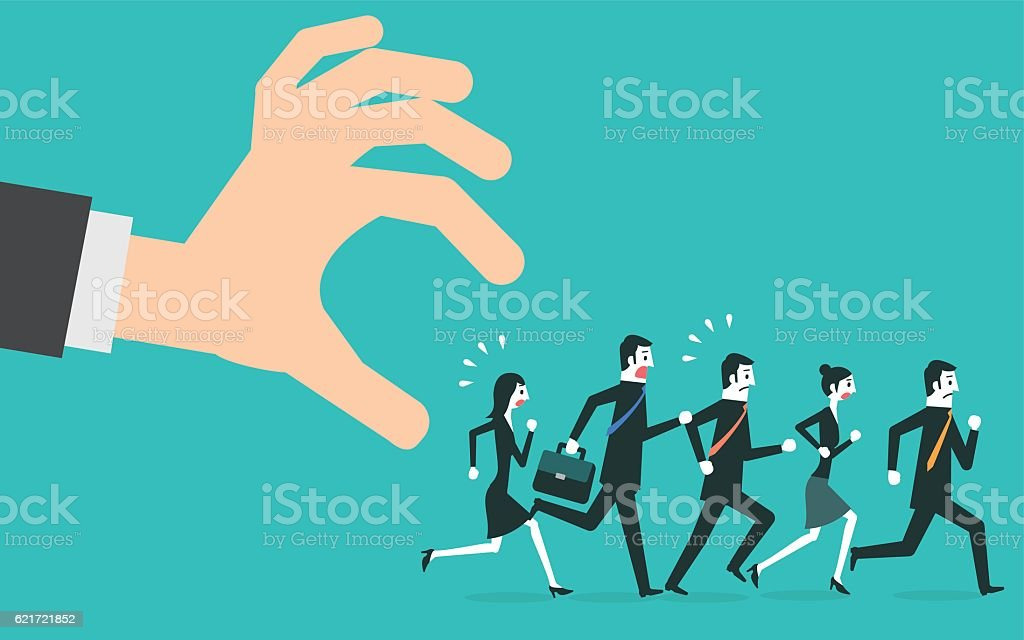People in casual running away from big hand. vector art illustration