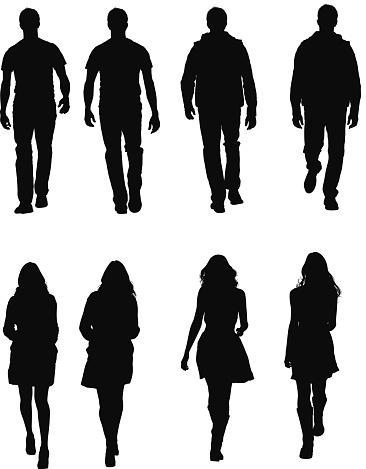People in casual wear walking