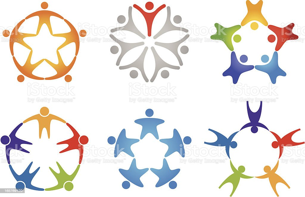 People in circle (icon set 2) vector art illustration