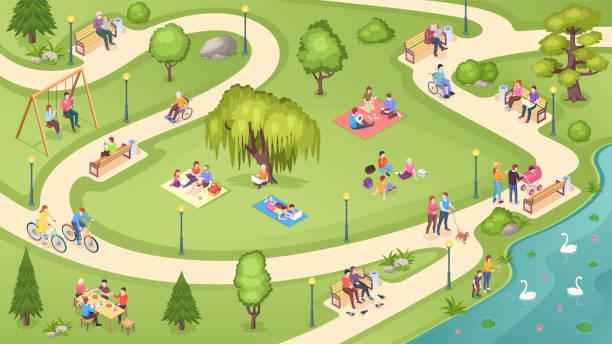 bildbanksillustrationer, clip art samt tecknat material och ikoner med människor i stadsparken, familjevila, sommarpicknick och fritidsaktiviteter, isometrisk vektorbakgrund. människor i offentlig park, sitter på bänken, läsa böcker under träd, promenader och utfodring svanar i dammen - naturparksområde
