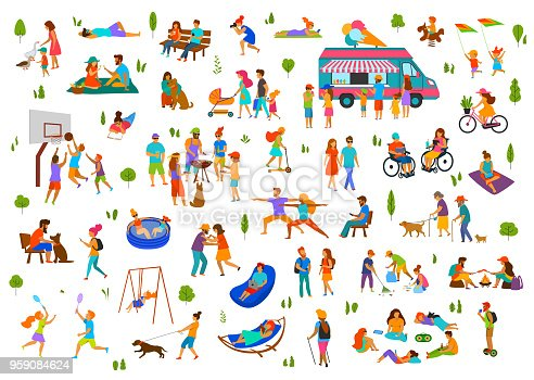 people in city park, parkland set.lazy and active man woman family friends groups relax, grill bbq, eat ice cream, dance walk ride bike scooter, at picnic, sit on benches, lying on grass and  hammock, read books play badminton,do yoga, chat on smartphone, clean trash in park