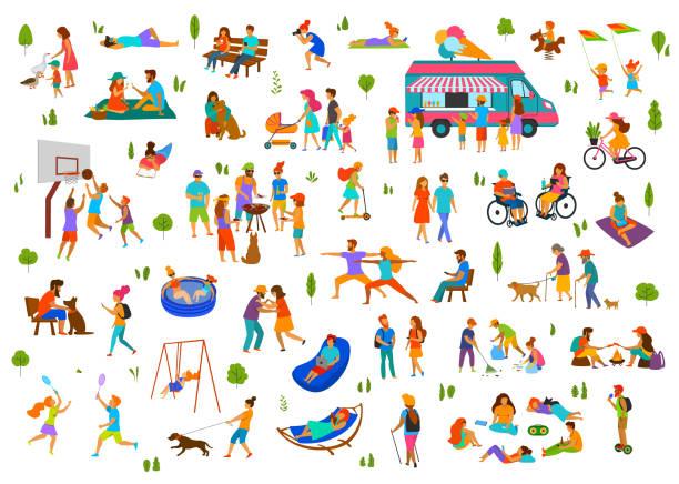 ilustrações, clipart, desenhos animados e ícones de pessoas no parque da cidade, parque set.lazy e ativo homem mulher família grupos de amigos relaxar, grelhador para churrasco, comem sorvete, dançar caminhada passeio moto scooter, piquenique, sentar-se em bancos, deitada na grama - exterior