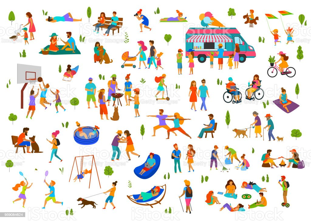 people in city park, parkland set.lazy and active man woman family friends groups relax, grill bbq, eat ice cream, dance walk ride bike scooter, at picnic, sit on benches, lying on grass vector art illustration