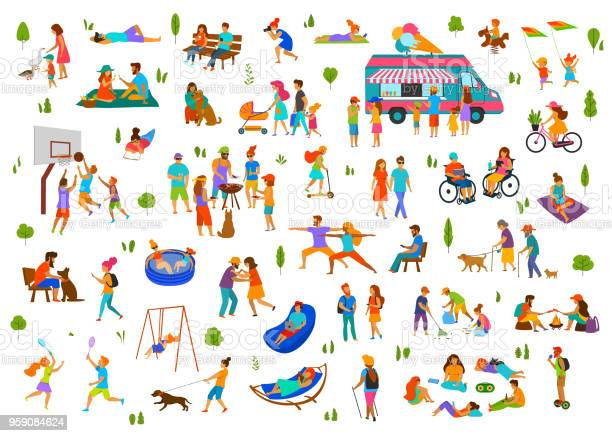 Menschen Im City Park Park Setlazy Und Aktiven Mannfraufamilie Freunde Gruppen Entspannen Bbq Grill Eis Essen Tanzen Gehen Fahrt Fahrrad Roller Bei Picknick Sitzen Auf Bänken Liegen Auf Dem Rasen Stock Vektor Art und mehr Bilder von Alter Erwachsener