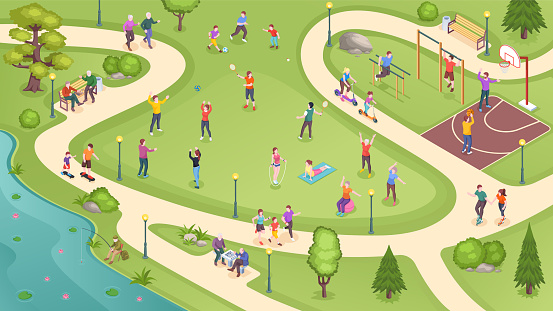 People in city park, sport activity and summer leisure games, isometric vector background. People in public park jogging, playing basketball and tennis, training at workout ground and riding scooters