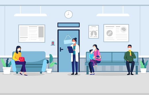 People in clinic waiting room