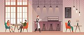 People in coffee shop. Friends meet and drink coffee and relax in coffeehouse. Guys talk with happy barista. Flat vector cafe work, cute table bar style working illustration