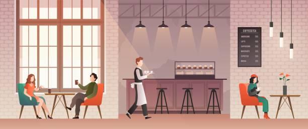 menschen im café. freunde treffen sich und trinken kaffee und entspannen im kaffeehaus. jungs sprechen mit glücklichen barista. flache vektor-illustration - restaurant stock-grafiken, -clipart, -cartoons und -symbole