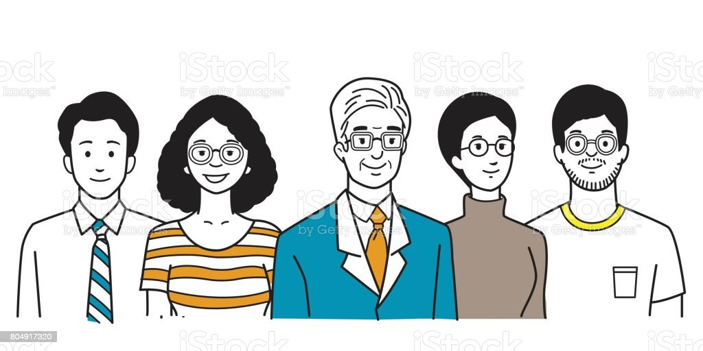 People in company vector art illustration