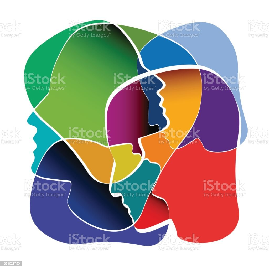 People in confusion. Concept of fusion of thoughts vector art illustration