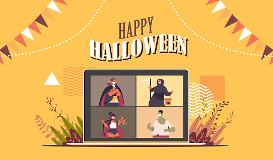 people in costumes on laptop screen discussing during video call happy halloween party online communication