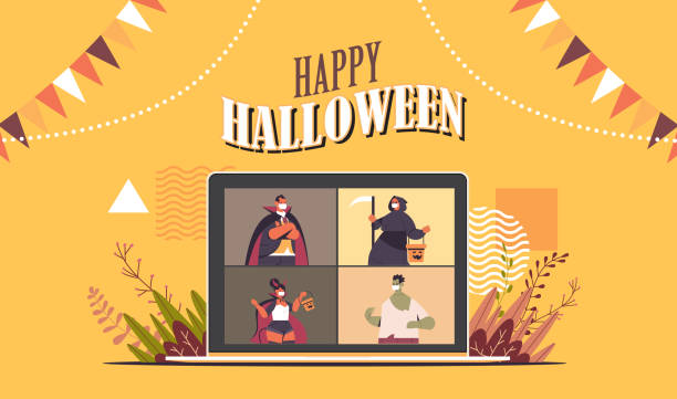 people in costumes on laptop screen discussing during video call happy halloween party online communication people in costumes on laptop screen discussing during video call happy halloween party online communication self isolation concept horizontal portrait vector illustration halloween covid stock illustrations
