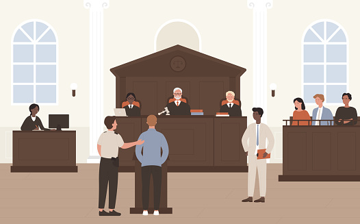 People in Court vector illustration, cartoon flat advocate barrister and accused character standing in front of judge and jury on legal defence process
