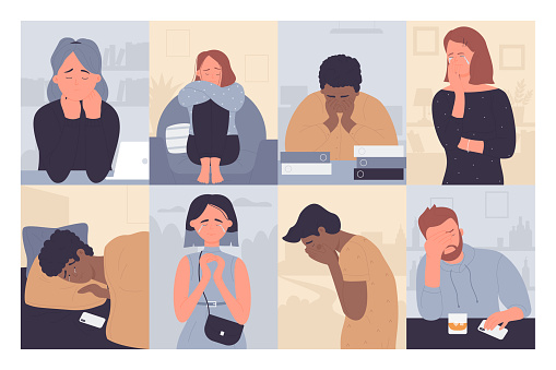 People in depression set, cartoon depressed man woman characters crying, sitting alone in stress