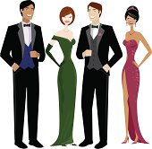 A group of 2 women and 2 men in evening dress. No gradients were used when creating this illustration.