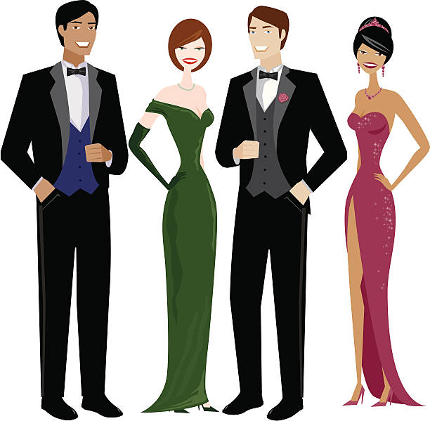 People in Evening Wear A group of 2 women and 2 men in evening dress. No gradients were used when creating this illustration. formal glove stock illustrations