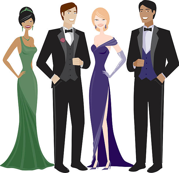 People in Evening Wear 4 people in evening wear. No gradients were used when creating this illustration. tuxedo stock illustrations