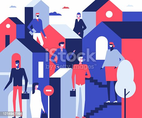 People in face masks - flat design style illustration. Coronavirus protective measures, recommendation idea. A composition with male and female cartoon characters, workers keeping social distancing
