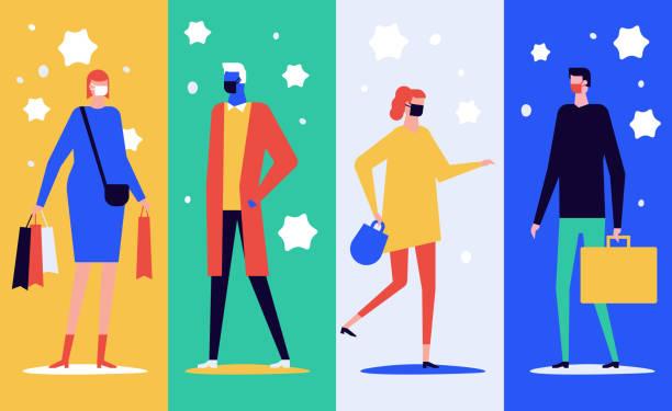 Menschen in Gesichtsmasken - flache Design-Stil-Illustration – Vektorgrafik