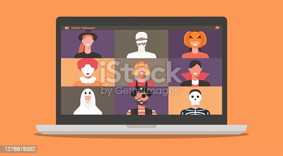 People in horror costumes on laptop computer screen discussing together or chatting with friends during video call or video conference for online Halloween party, vector illustration