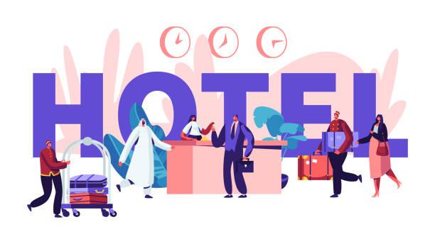 люди в концепции отеля. регистрация, лобби интерьер с вещи встречи арабских и европейских гостей. персонажи, прибывающие в отель плакат, бан - hotel reception stock illustrations