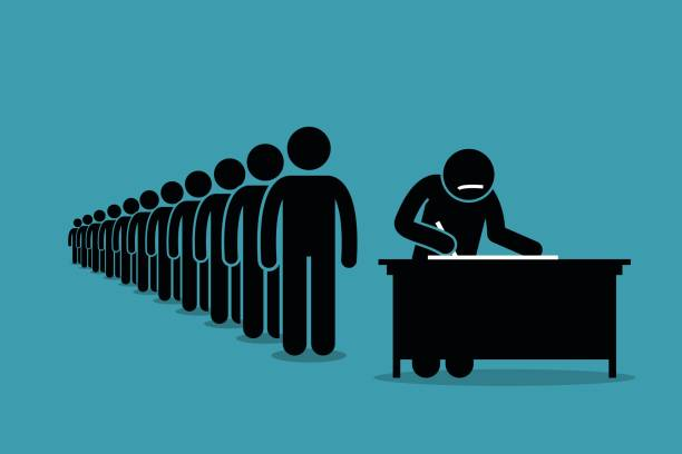 people in line and queue signing for petition with signatures. - unemployment stock illustrations