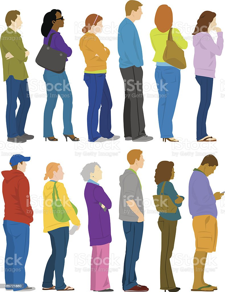 People In Line vector art illustration