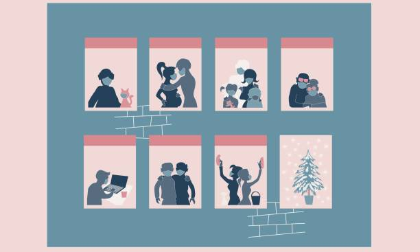 People in mask in windows, Christmas tree - new normal  concept background vector art illustration