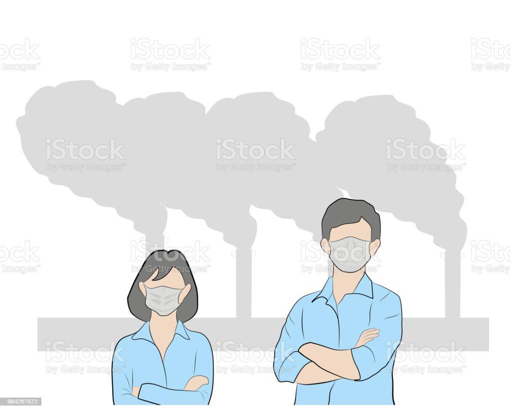 微細な粉塵のためマスクの人々ベクトル落書きデザイン イラスト描画