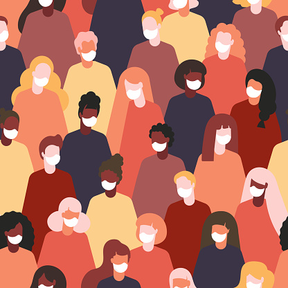 people in medical face mask.Concept of lockdown and quarantine seamless patternvector. banner or poster epidemic time for social media, network. pattern international. multinational community pattern