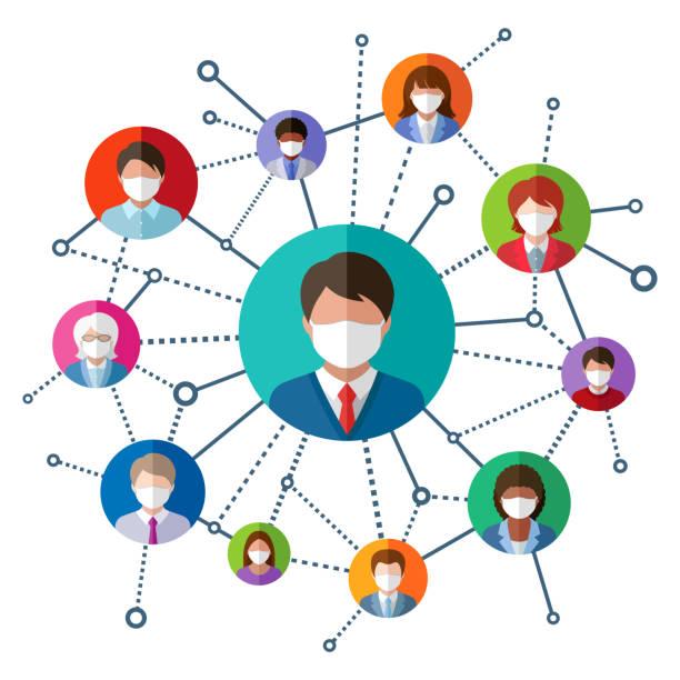 ilustrações, clipart, desenhos animados e ícones de pessoas com máscaras médicas - social media