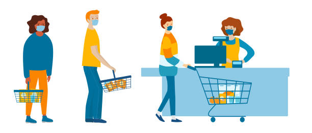 people in medical masks doing shopping in supermarket. quarantine coronavirus 2019-ncov in the store. epidemic precautions - essential workers stock illustrations