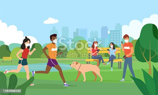 People in medical masks in a city Park. Vector flat style illustration.