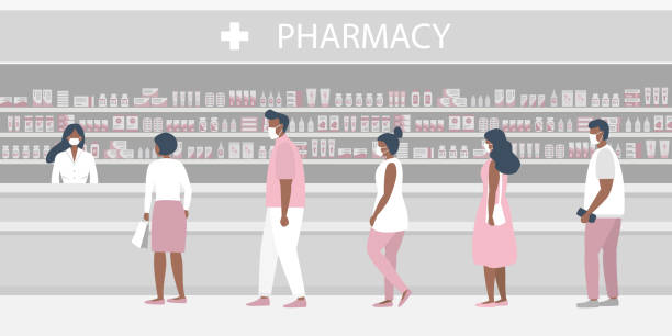 People in medical masks in the pharmacy. The pharmacist stands near the shelves with medicines. Visitors keep their distance in line vector art illustration
