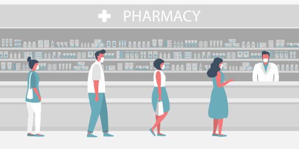 illustrazioni stock, clip art, cartoni animati e icone di tendenza di persone in maschere mediche in farmacia. il farmacista si trova vicino agli scaffali con medicinali. i visitatori mantengono le distanze in linea - farmacia