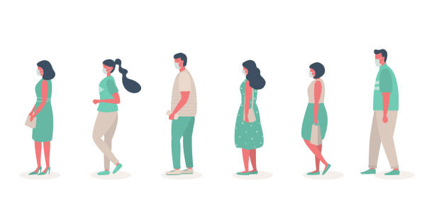 People in medical masks stand in line. Men and women keep their distance to stay safe vector art illustration