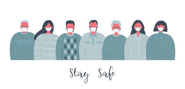 People in medical masks. Stay safe concept vector art illustration