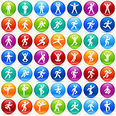 People in motion Active Lifestyle Color Round Vector Icon Set