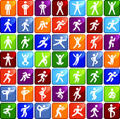 People in motion Active Lifestyle Colorfull Square Vector Icon Set