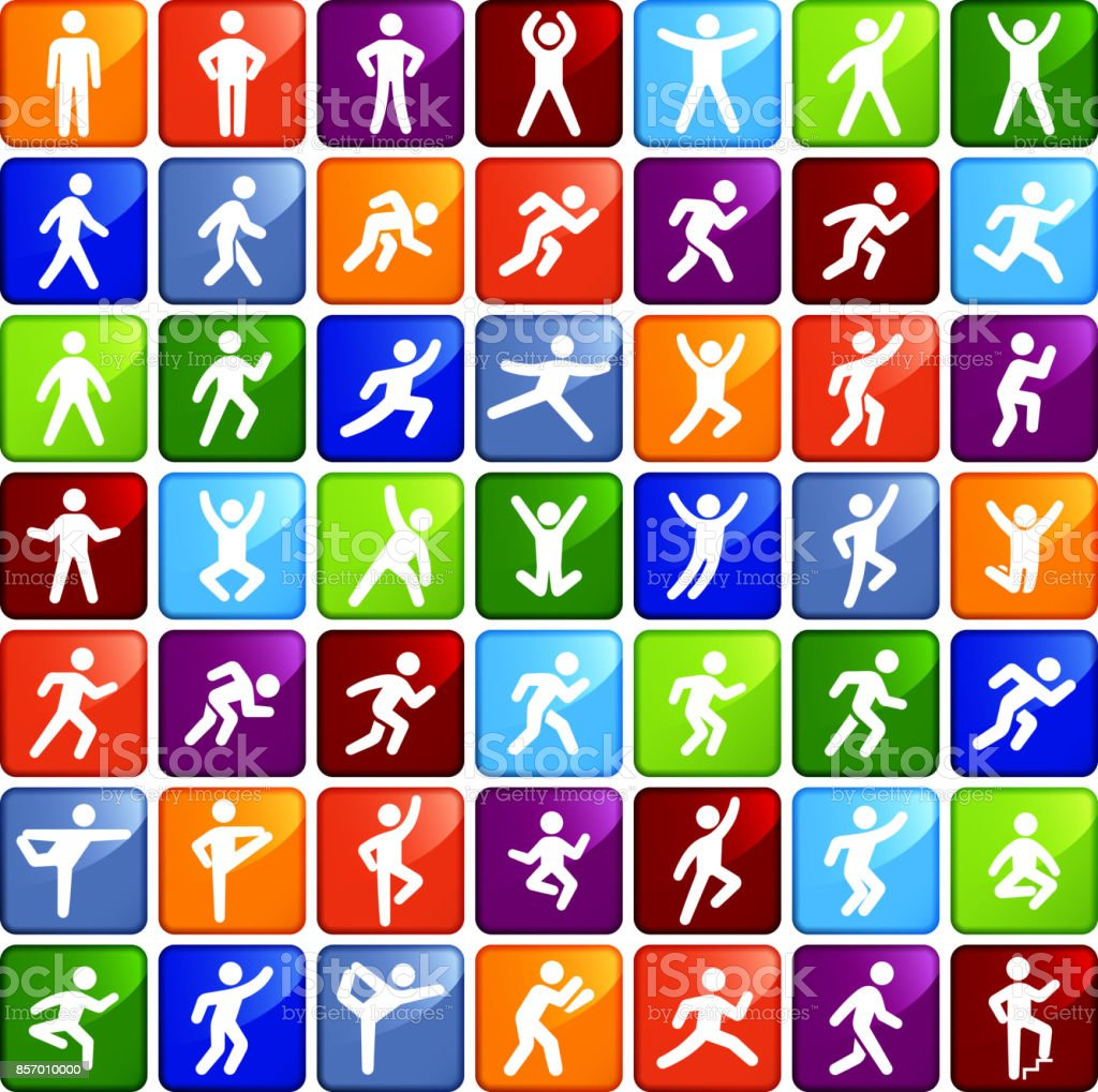 People in motion Active Lifestyle Colorfull Square Vector Icon Set vector art illustration