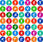 People in motion Active Lifestyle Flat Circles Vector Icon Set