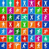 People in motion Active Lifestyle Flat Color Vector Icon Set