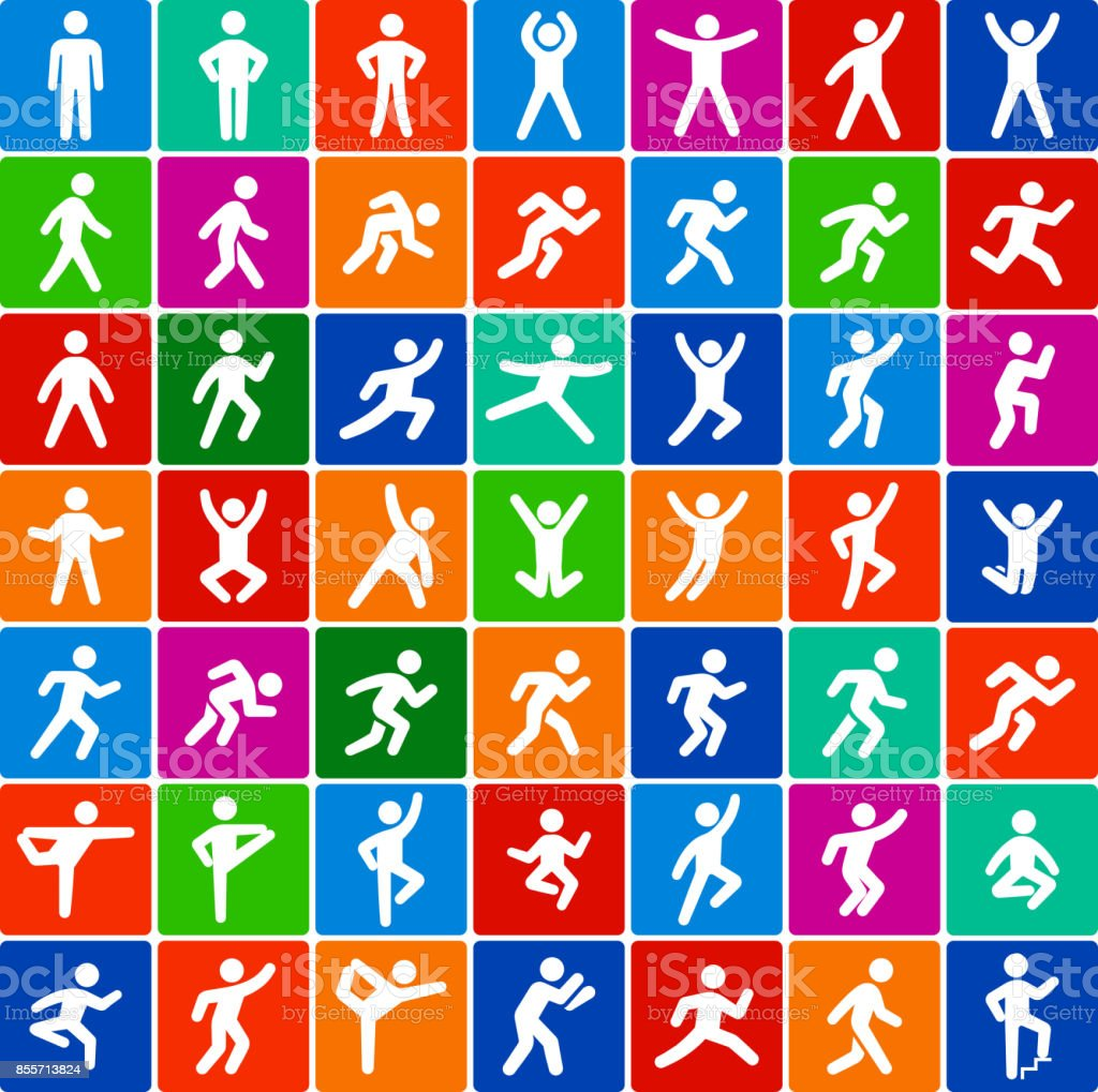 People in motion Active Lifestyle Flat Color Vector Icon Set vector art illustration