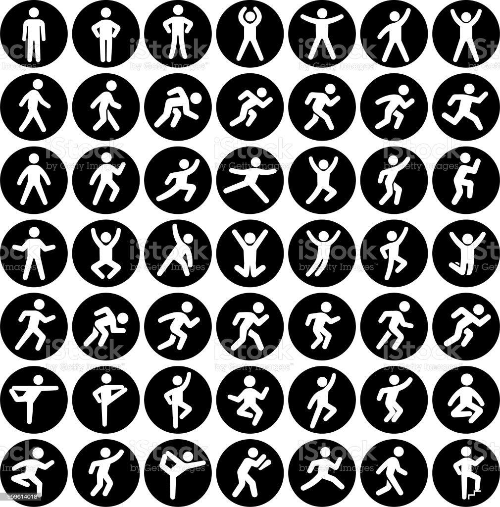 Gente en movimiento activo estilo de vida Vector Set negro botones de icono - arte vectorial de Abrise de piernas libre de derechos