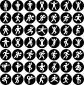 People in motion Active Lifestyle Vector Icon Set Black Buttons. This vector illustration features stick figures of people in motion. Each icon is showing the human body in various position. The icons are placed against a round black background.