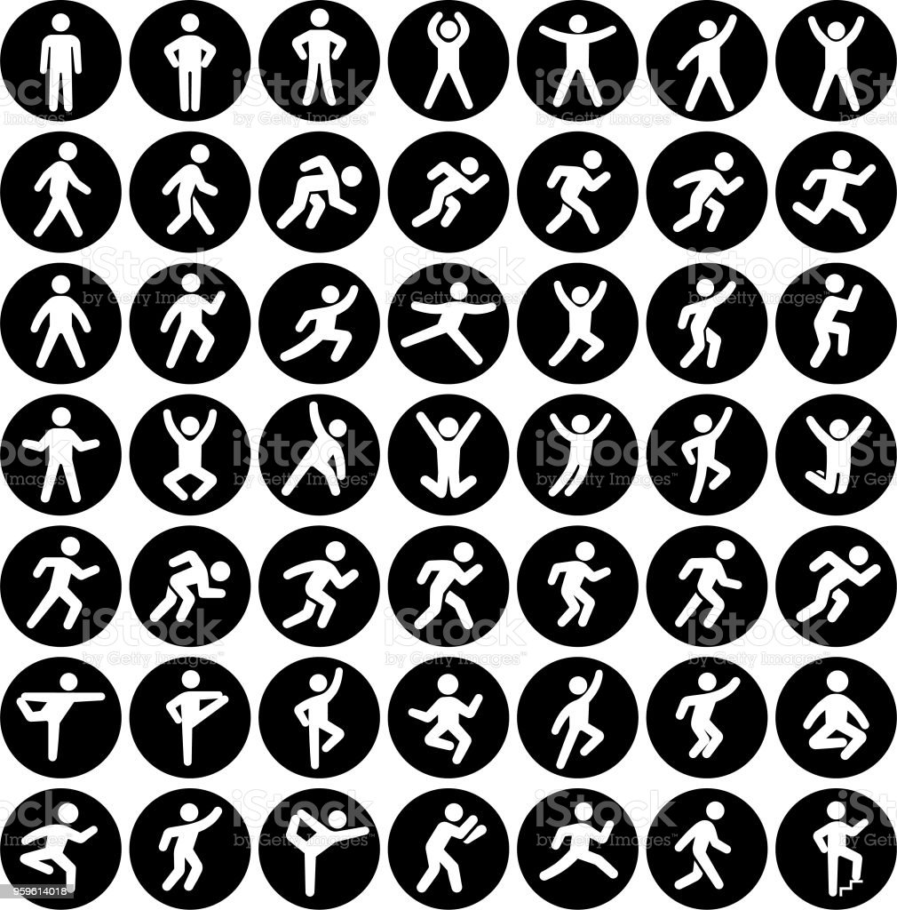 People in motion Active Lifestyle Vector Icon Set Black Buttons vector art illustration